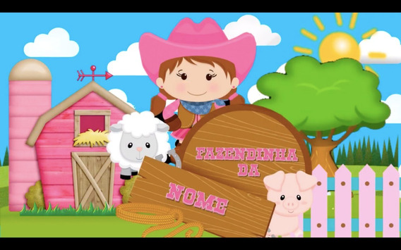 Convite Animado Vídeo Fazendinha Rosa, Whatsapp, Aniversário