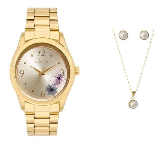 Relógio Condor Feminino Co2035kvx/k4d + Colar + Brincos