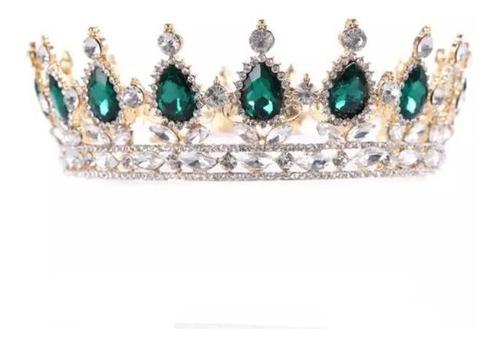 Imagen 1 de 2 de Corona De Lujo Cristal Verde Dorado Princesa Xv Años