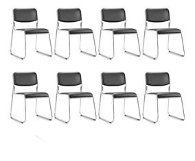 Kit 8 Cadeiras Fixa Empilhável Dakar Cromada Para Escritório
