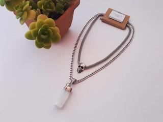Collar Doble Con Dije Y Piedra Mineral Selenita