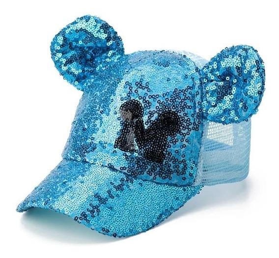 Gorra Para Niña Mickey Minnie Mouse Con Orejas Lentejuela