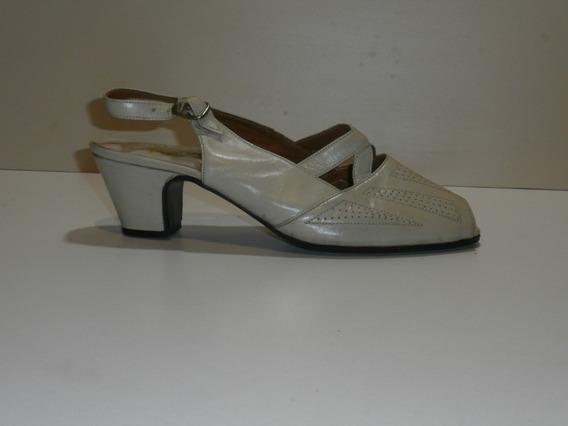 Zapatos,abiertos Taco Bajo, Nº38 Forrados Beige