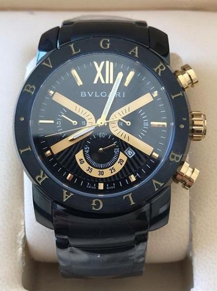Relógio Masculino Bullgari Preto Com Detalhes Dourados