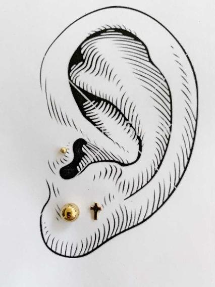 Pack De 3 Pares Piercings Chapa De Oro 22k Mod 1