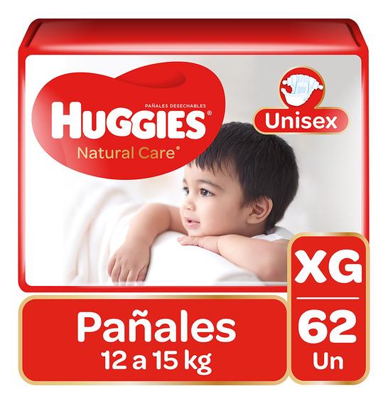 Pañales Huggies Natural Care Unisex 62 Unidades Talla Xg
