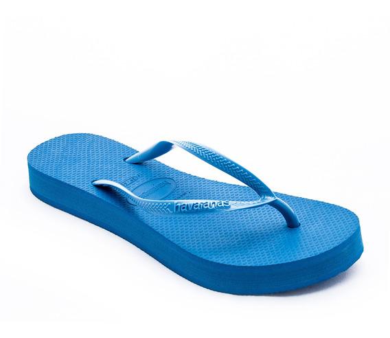 Ojota Havaiana Slim Plataform Azul Mujer