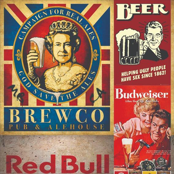 Papel De Parede Autocolante Retrô Cerveja/bebida 3m - 1468