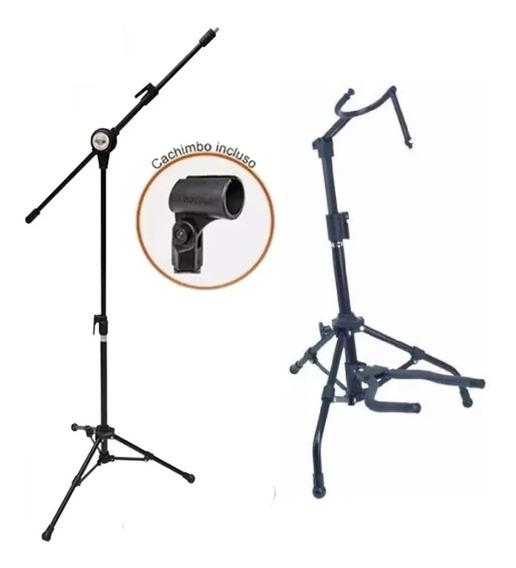 Pedestal Para Microfone + Suporte Para Violão Vector