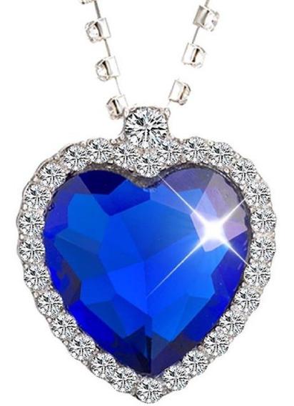 Colar Cordão Feminino De Coração Titanic Azul Oceano Cristal