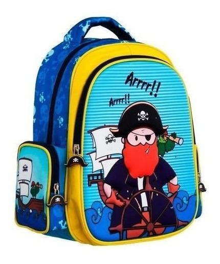 Mochila Escolar Desenho Pirata Alto Relevo Convoy Kids