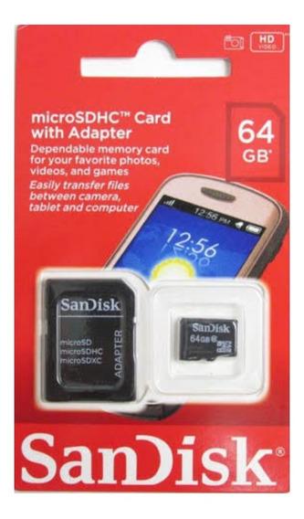 Cartao De Memória Micro Sdhc 64gb + Adaptador Skandisk