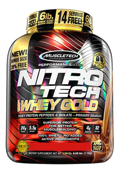 Nitro Tech Gold 2.5kg - Muscletech - 5g Bcaa + 4g Glutamina