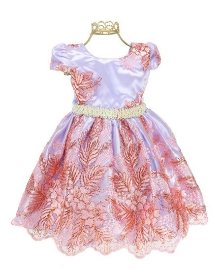 Vestido Festa Infantil Princesa Realeza Renda Dourada 81638