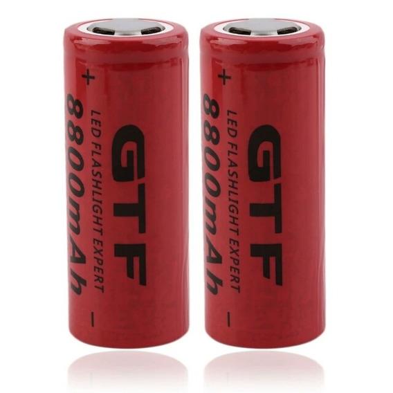 Bateria 2 Uni 26650 3.7 V 8800 Mah Recarregável Lition