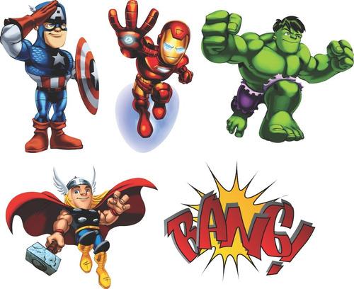 27 Adesivos Super Heróis Kids + Onomatopeias Heroi Cute