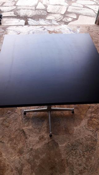 Mesa Quadrada Tampo Em Madeira Preta 0,80x0,80x0,80cms