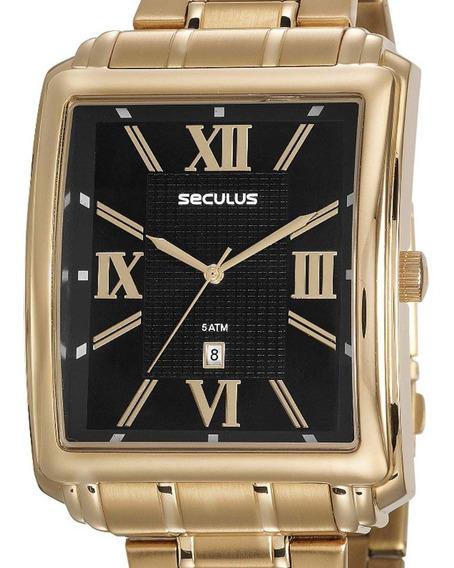 Relógio Seculus Masculino Quadrado 23574gpsvda3 Dourado