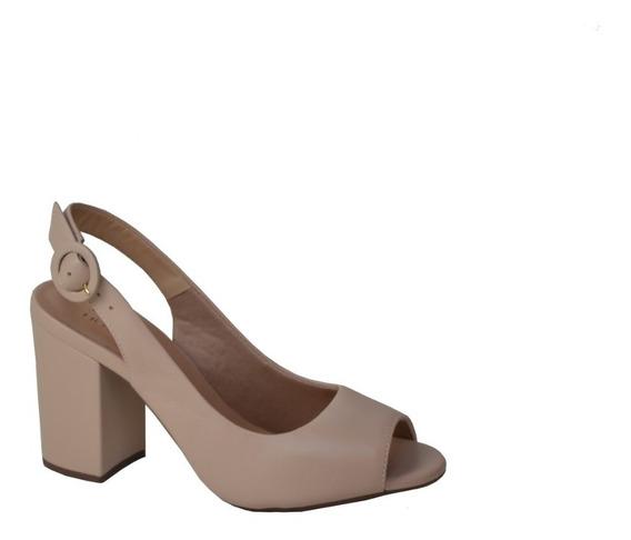 Sandália Chanel Nude Salto Alto Bloco