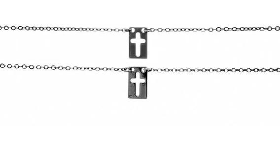 430034 Escapulário Folheado Rhodium Negro Com Cruzes Vazada