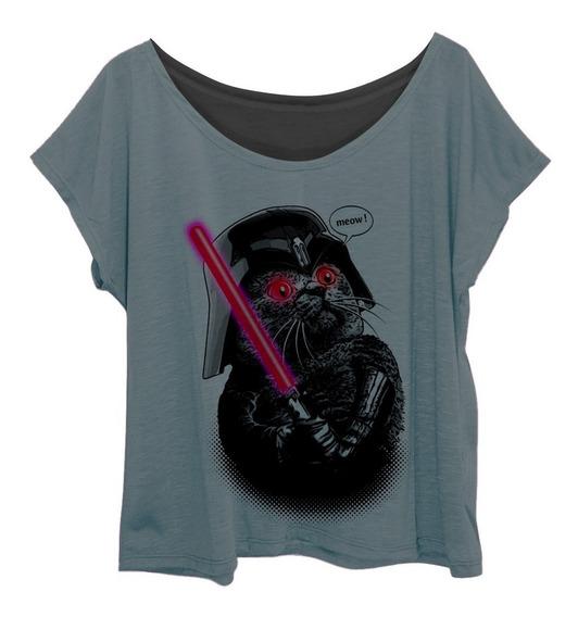 Blusa Blusinha Feminina Plus Size Estampa Geek Gato Vader