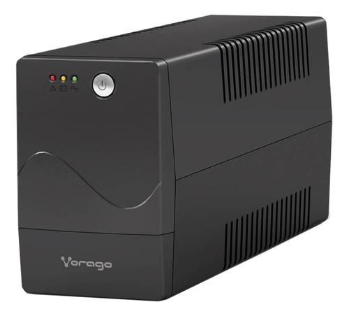 No break regulador de voltaje Vorago UPS 301 800VA entrada y salida de 110V/120V CA negro