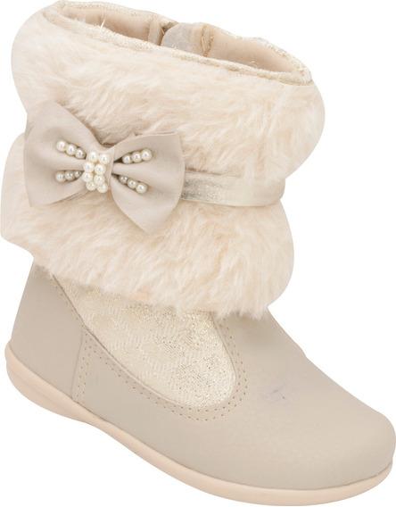Bota Infantil Menina Plis Calçados Versátil Marfim 842