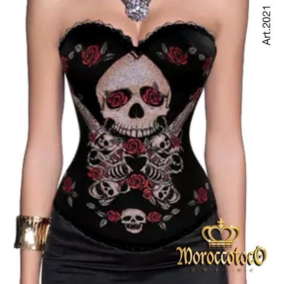 Corset Tattoo Guns Skul Calabera Mexicana Importado Art 2021