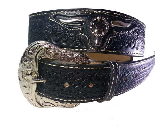Cinturón Vaquero Cincelado A Mano Para Hombre