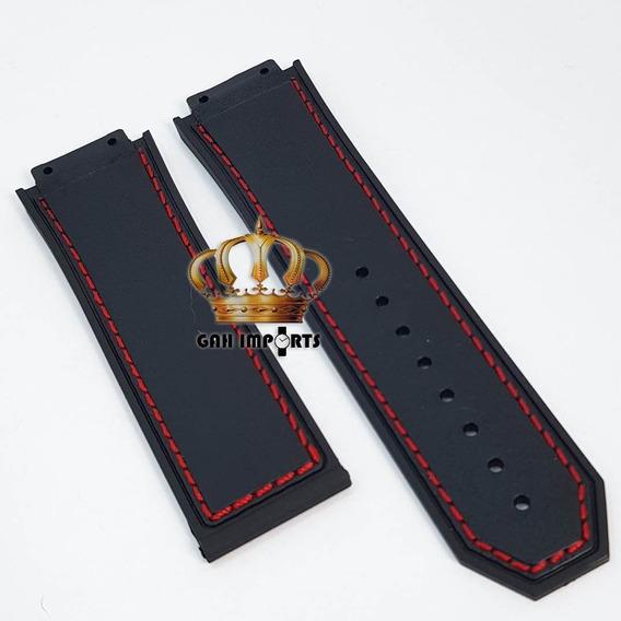 Pulseira P/ Hublot King Power F1 Com Costura Vermelha