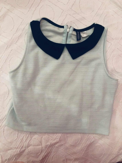 Remera Top H&m Talle S Con Cuello Negro