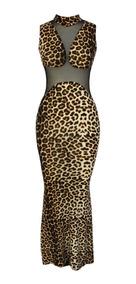 Sexy Vestido Largo Animal Print Elegante Transparencias 6903