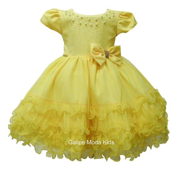 Vestido Bela Fera Infantil Amarelo Princesas Luxo 1 Ao 3