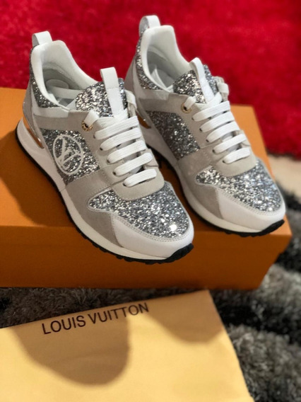 Tenis Louis Vuitton Beige Brillantes Dama