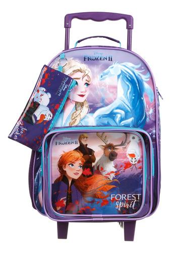 Combo Mala Com  Rodinhas + Lancheira + Estojo Frozen Disney