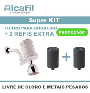 Filtro P/ Chuveiro + 2 Refis Exta - Reduz Metais Pesados E Cloro Livre