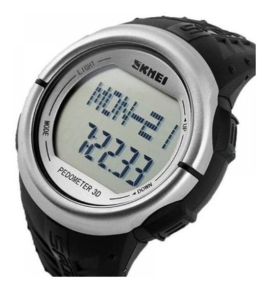 Relógio Masculino Skmei 1058 - Preto E Prata - Pedômetro
