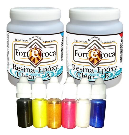 Resina Epoxy-clear 1 Kg. 6 Pigmentos Perlados