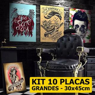 Kit 10 Placas Decorativas Grandes Barbearia