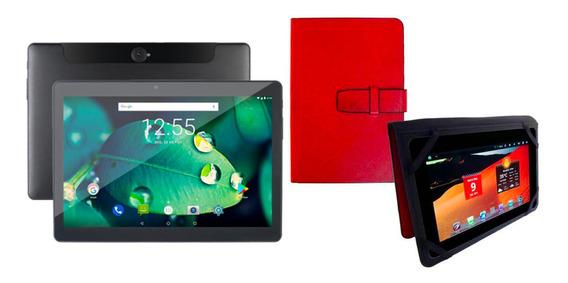 Tablet Preto 4g 10 Polegadas 2 Chips 16gb Android 8.1 + Capa