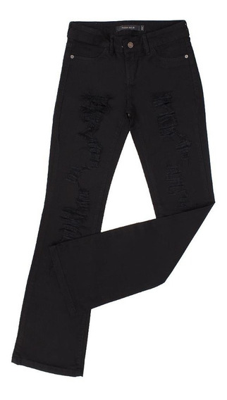 Calça Jeans Feminina Preta Boot Cut Com Elastano - Tassa Go
