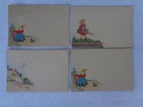 Papel Carta Cartão Antigo Motivo Infantil 4 Unidades