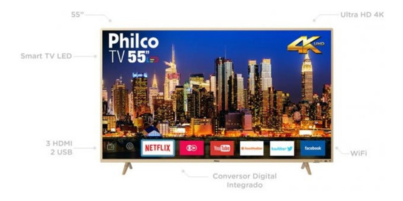 Smart Tv 4k Led 55 Philco Ptv55f61snc - Wi-fi Conversor Digital 3 Hdmi 2 Usb