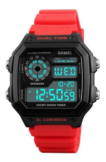 Relógio Skmei Digital Retro Original Masculino 1299 Vermelho