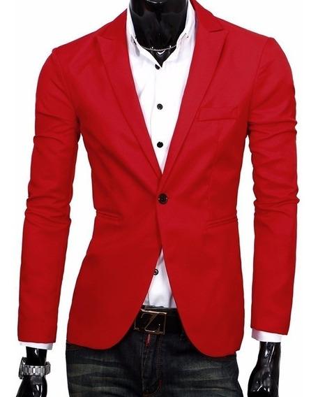 Blazer Slim Fit Masculino Vermelho Pronta Entrega