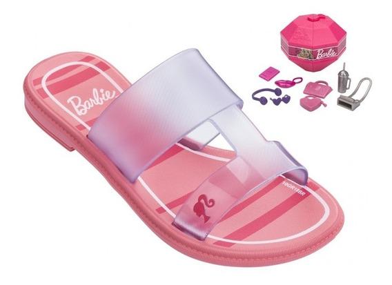 Sandália Rasteira Barbie Surprise - Rosa Vidro