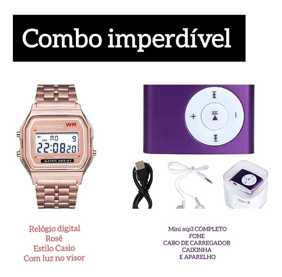 Relógio Estylo Casio + Mini Mp3 Player Completo Combo Imperd