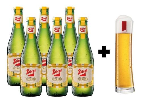 6 Pack De Cervezas Austriacas Stiegl Radler 330 Ml + Vaso