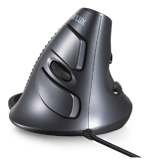 Mouse Ergonômico Delux M618 Vertical Com Fio Preto 1600dpi