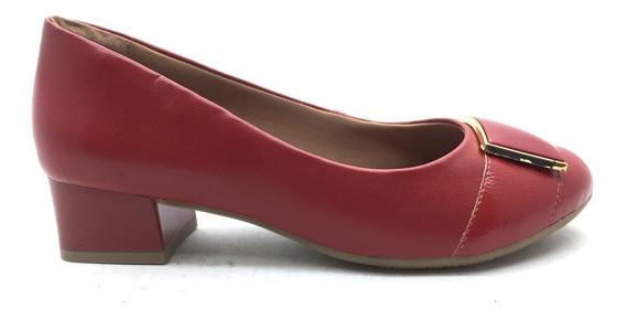 Sapato Ramarim Vermelho Salto Baixo Grosso